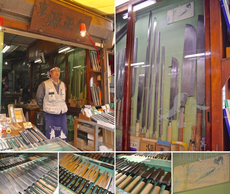 "This is one of many knife shops at Tsukiji market. in the picture showed the ""Tuna knifes"", a set of very long knifes at least about 4.5-5 feet long, in the cabinet and the small picture on the bottom left showed how to use them."