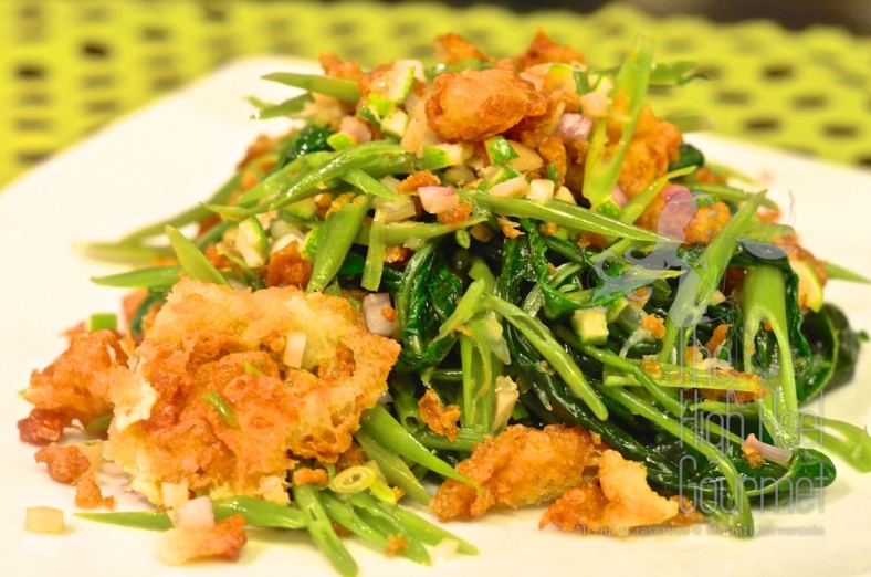 Morning glory (Ong Choy) salad with herbs and Khai-Jiaow!