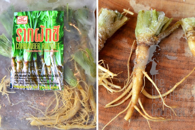 Left: Bag of frozen coriander.  Right: The root is ready to be used. I normally scrape the skin off the root first.