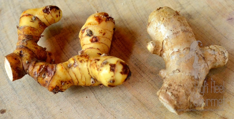 Left: Galangal root. Right: ginger root.
