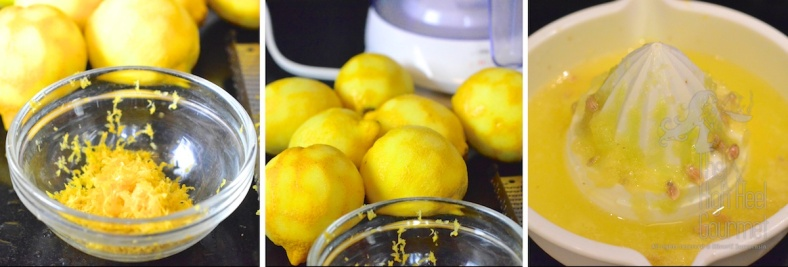 I zest the lemons first before I juice them. I added the zest in both blueberry and apricot jams just to tie both of them together with the flavor of the lemon zest.