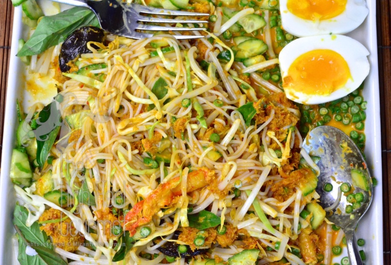 Southern Thai Rice Noodled Salad with Curry Sauce - Kanom Jeen Nam Ya Tai by The High Heel Gourmet 1
