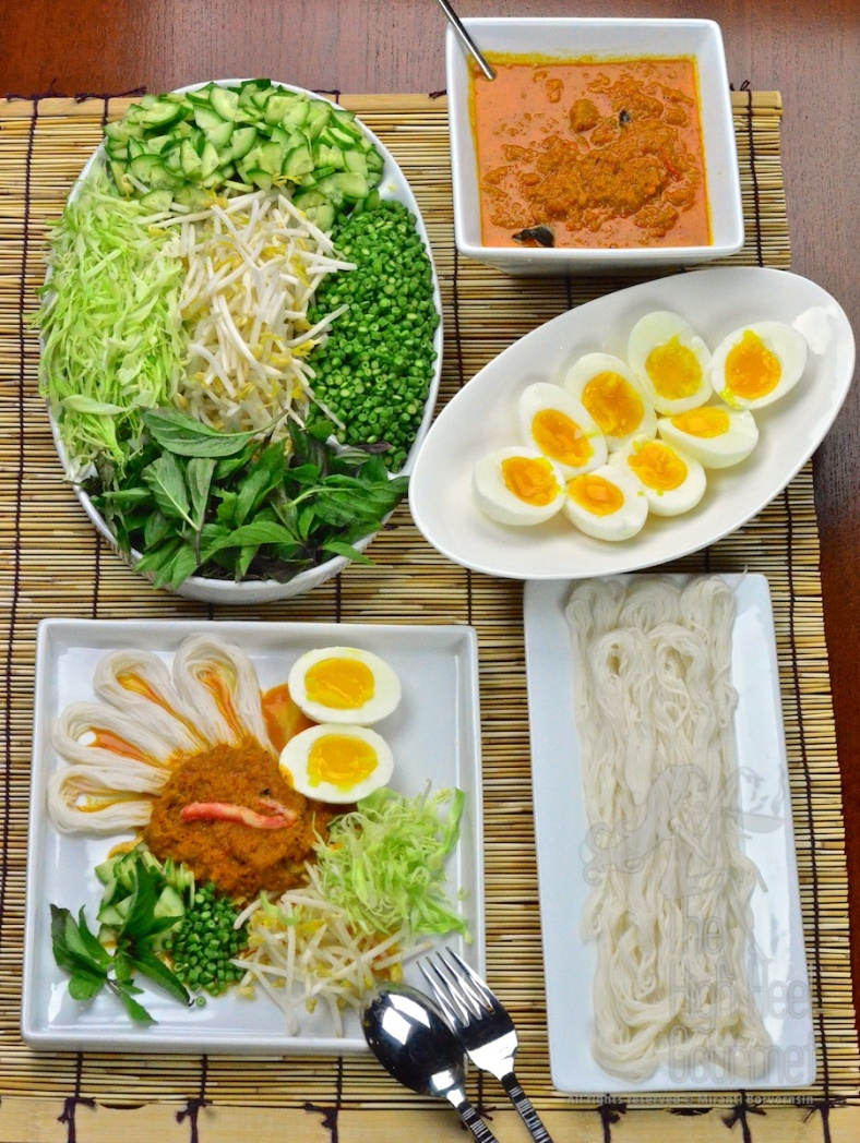 Southern Thai Rice Noodled Salad with Curry Sauce - Kanom Jeen Nam Ya Tai by The High Heel Gourmet 2 (2)