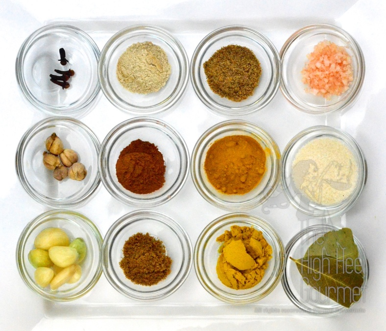 Top from left to right: Clove, White Pepper, Ground Coriander, Himalayan Salt Middle: White Cardamom, Cinnamon powder, Turmeric powder, Granulated Sugar Bottom: Garlic, Ground Cumin, Curry powder, Bay leaf