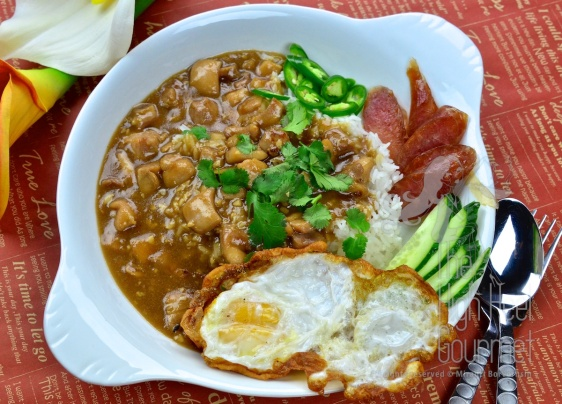 Chicken in Gravy Over Rice - Thai Khao Na Gai by The High Heel Gourmet