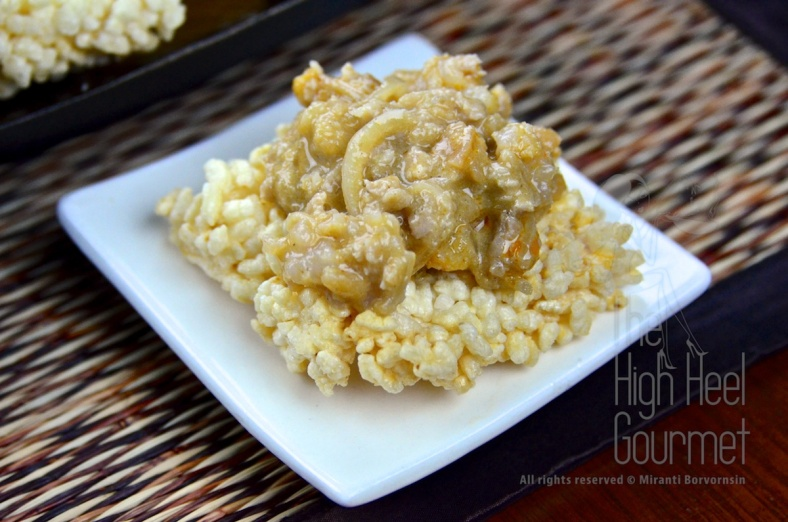 Crispy Rice Cake with Pork, Shrimp and Peanut in Coconut Dip – Thai Khao Tung Na Tung by The High Heel Gourmet 8