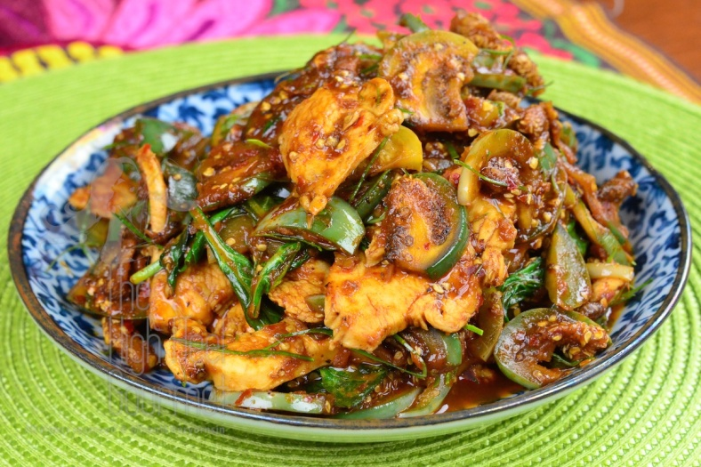 Thai style Chicken stir-fried with curry paste and Thai Eggplants - Pad Phed Gai by The High Heel Gourmet 1
