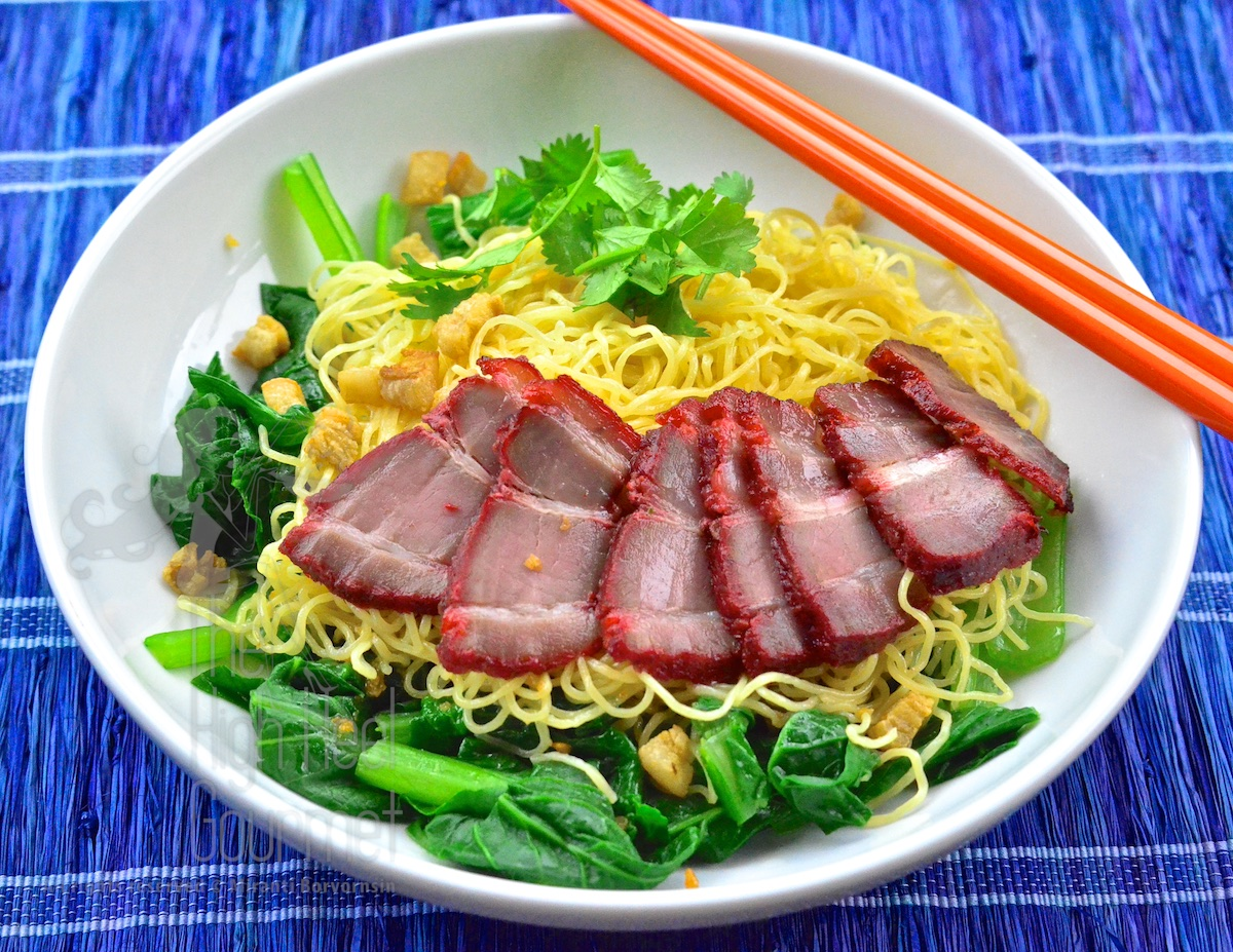 Egg Noodles With Wontons And Red Thai Barbecue Pork  Ba Mee Kiew Moo Dang  By