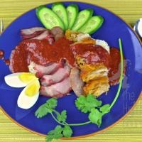 Thai Style Red Barbecue Pork over Rice with Red Sauce, Khao Moo Dang - Moo Dang Episode II