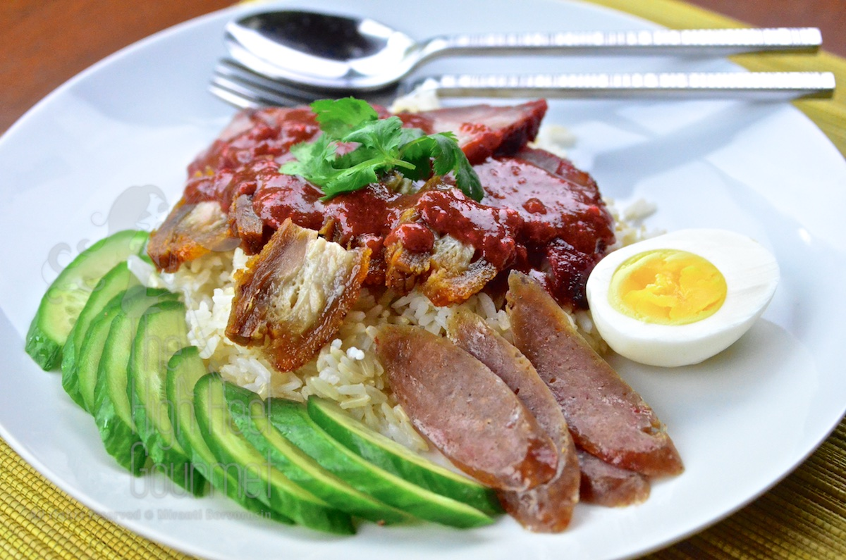 Thai Style Red Barbecue Pork On Rice With Red Sauce Khao Moo Dang By The